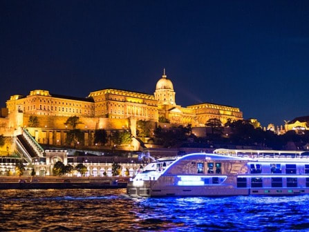 Cruise ship on the Danube at night